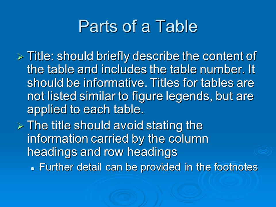 Parts of a Table Title: should briefly describe the content of the table and includes the table number. It should be informative. Titles for tables ar