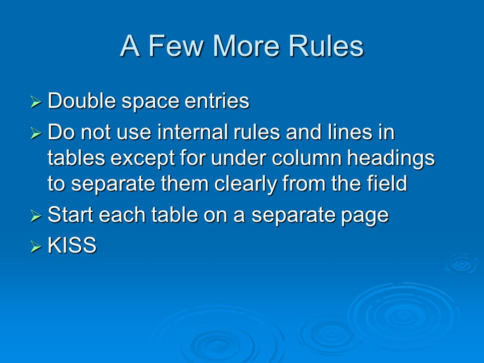 A Few More Rules Double space entries Double space entries Do not use internal rules and lines in tables except for under column headings to separate them clearly from the field Do not use internal rules and lines in tables except for under column headings to separate them clearly from the field Start each table on a separate page Start each table on a separate page KISS KISS