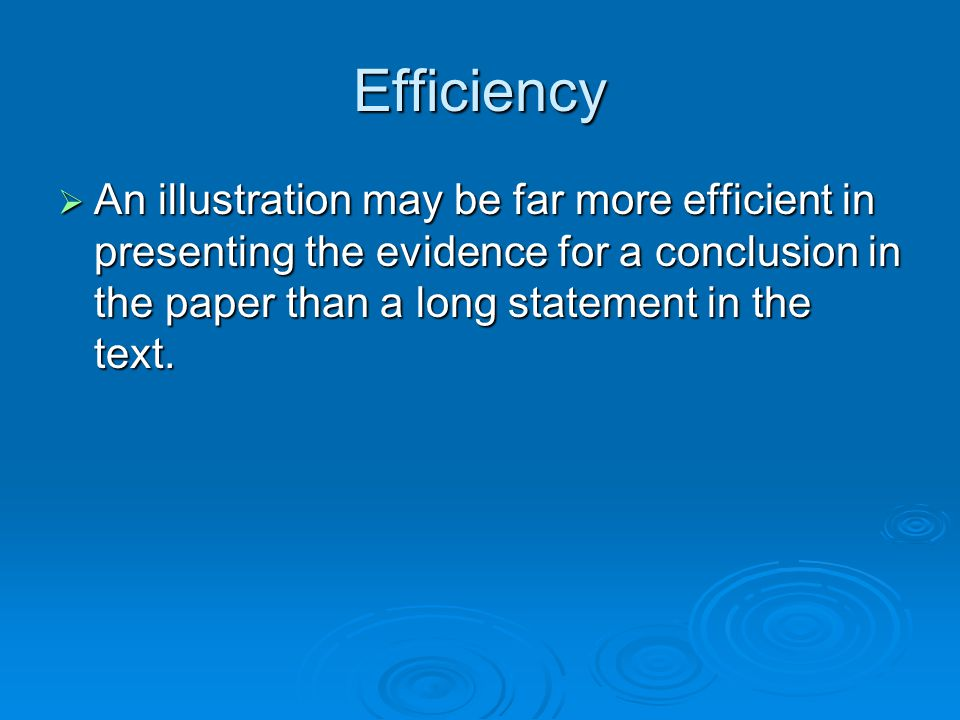 Efficiency An illustration may be far more efficient in presenting the evidence for a conclusion in the paper than a long statement in the text. An il