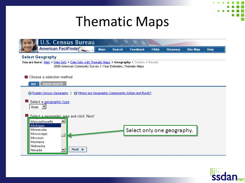 Thematic Maps Select only one geography.