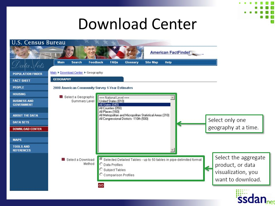 Download Center Select only one geography at a time. Select the aggregate product, or data visualization, you want to download.