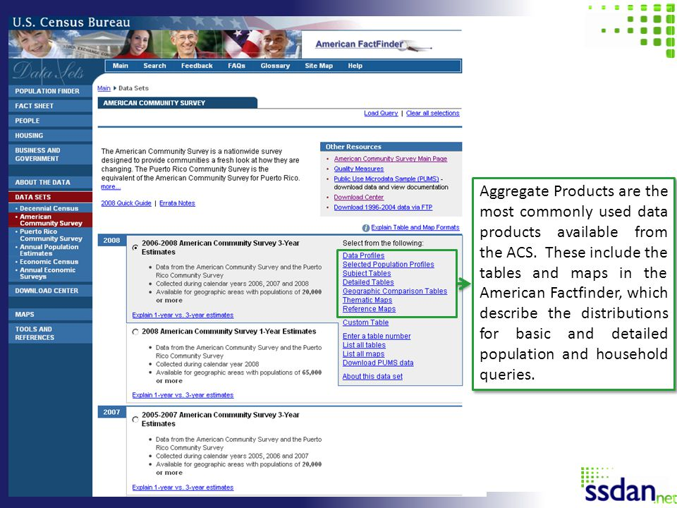 Aggregate Products are the most commonly used data products available from the ACS.