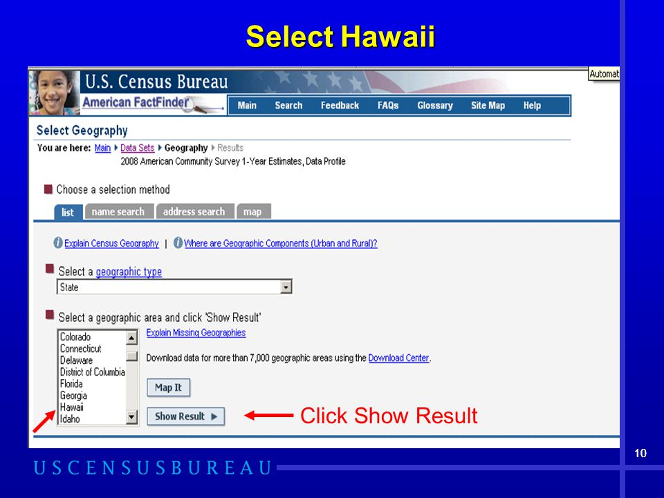 10 Select Hawaii Click Show Result