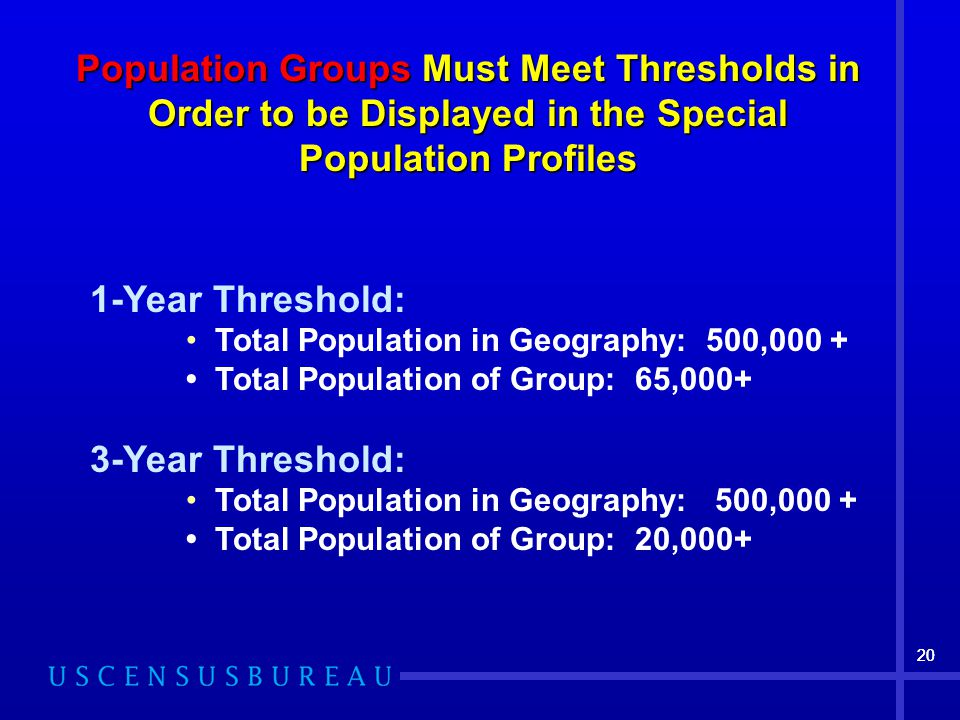 20 Population GroupsMust Meet Thresholds in Order to be Displayed in the Special Population Profiles Population Groups Must Meet Thresholds in Order to be Displayed in the Special Population Profiles 1-Year Threshold: Total Population in Geography: 500,000 + Total Population of Group: 65, Year Threshold: Total Population in Geography: 500,000 + Total Population of Group: 20,000+