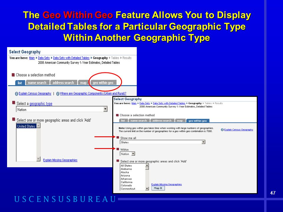 47 The Geo Within Geo Feature Allows You to Display Detailed Tables for a Particular Geographic Type Within Another Geographic Type 47