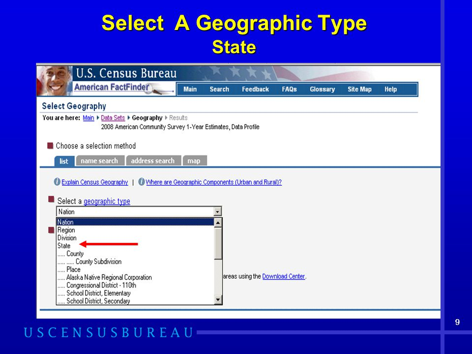 99 Select A Geographic Type State