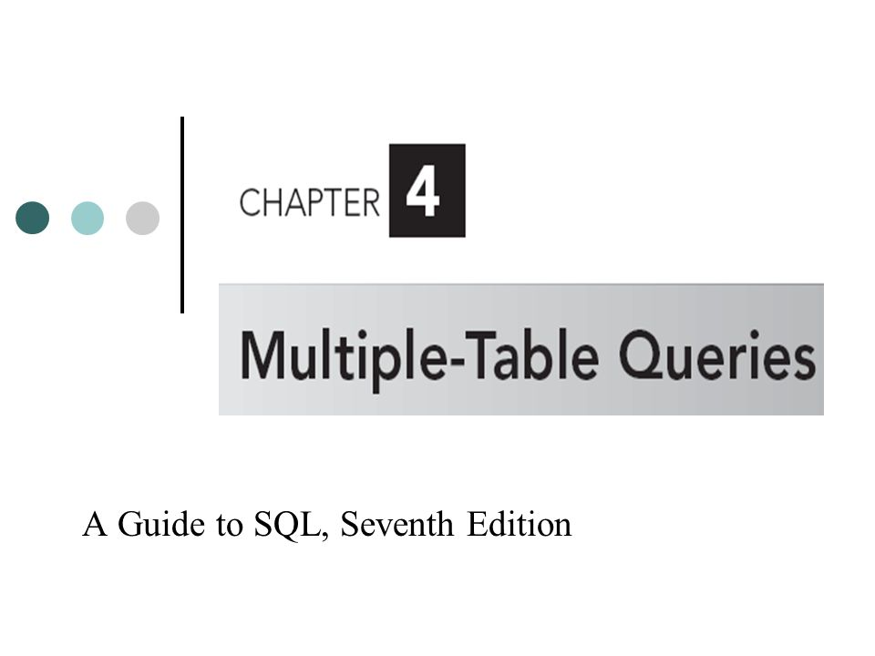Objectives Use joins to retrieve data from more than one table Use the IN and EXISTS operators to query multiple tables Use a subquery within a subquery Use an alias A Guide to SQL, Seventh Edition