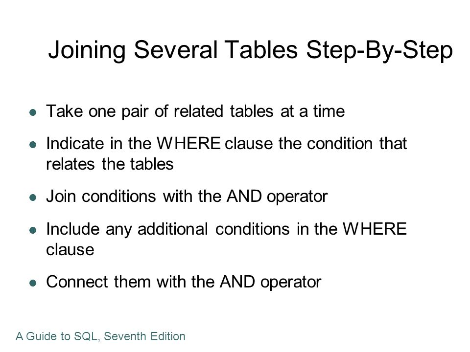 Joining Several Tables Step-By-Step Take one pair of related tables at a time Indicate in the WHERE clause the condition that relates the tables Join