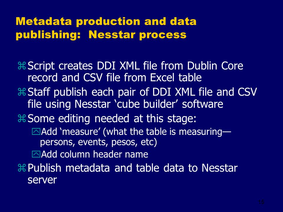 15 Metadata production and data publishing: Nesstar process zScript creates DDI XML file from Dublin Core record and CSV file from Excel table zStaff
