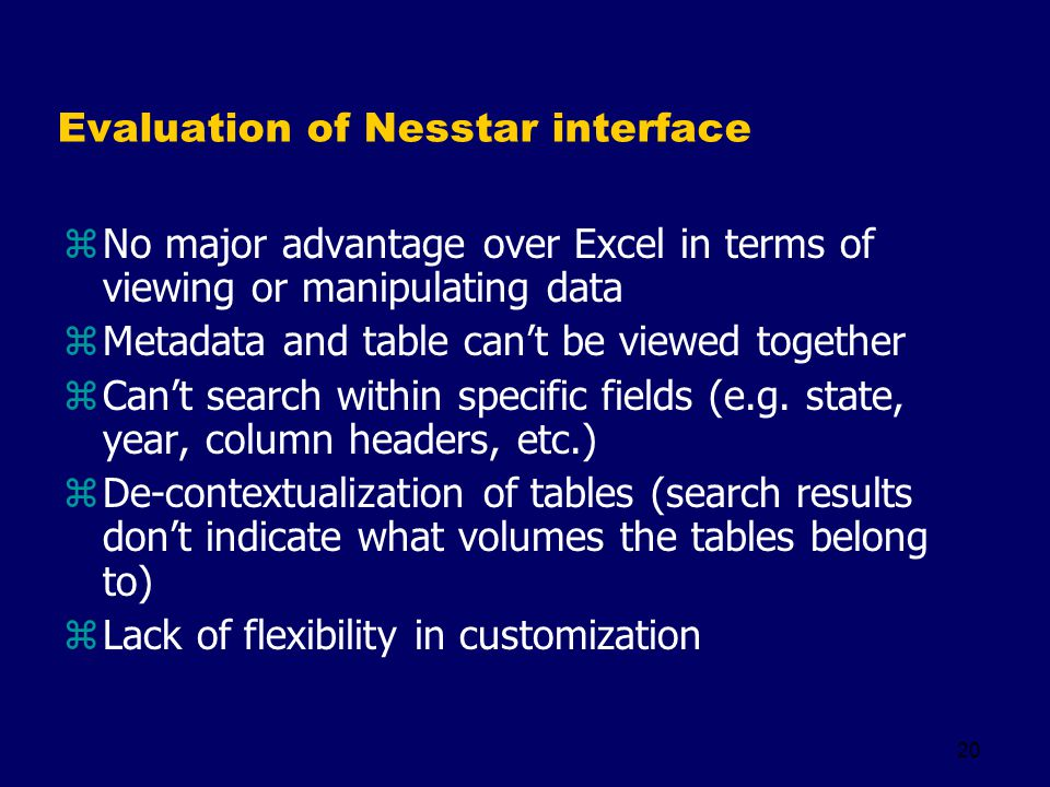 20 Evaluation of Nesstar interface zNo major advantage over Excel in terms of viewing or manipulating data zMetadata and table cant be viewed together