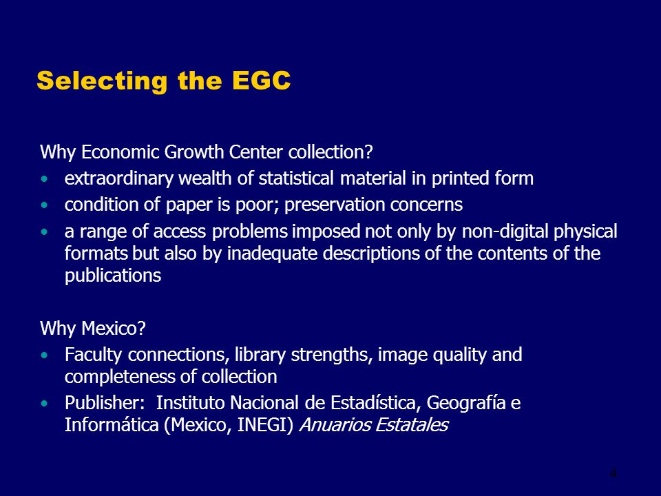 4 Selecting the EGC Why Economic Growth Center collection.
