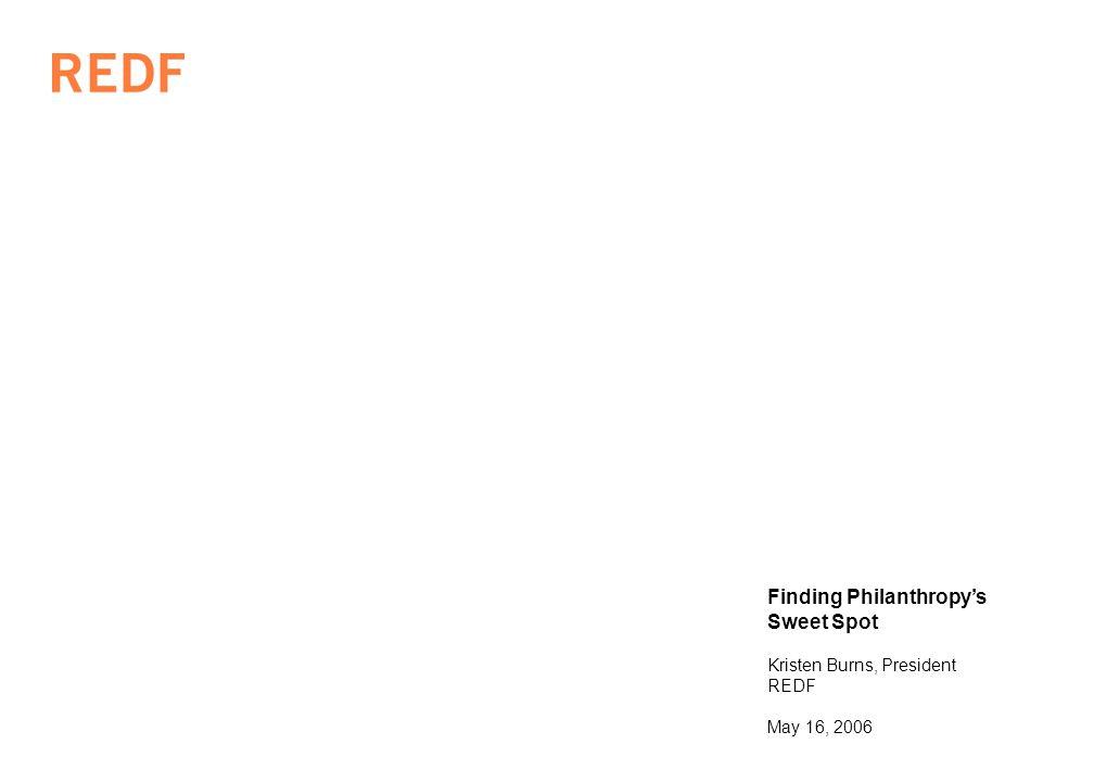 Finding Philanthropys Sweet Spot Kristen Burns, President REDF May 16, 2006
