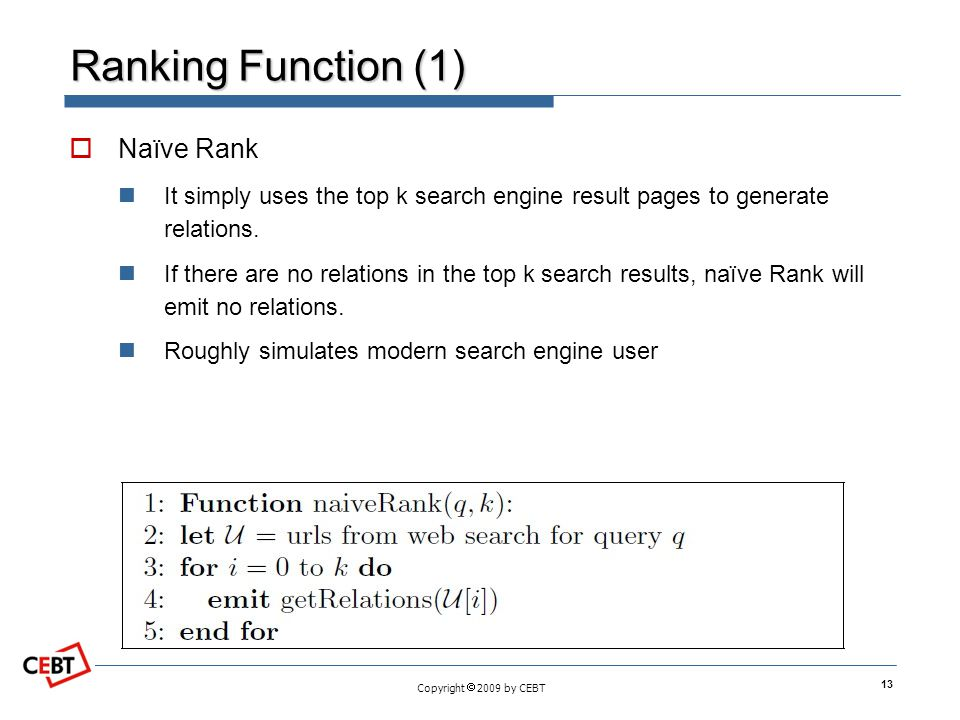 Copyright 2009 by CEBT Ranking Function (1) Naïve Rank It simply uses the top k search engine result pages to generate relations. If there are no rela