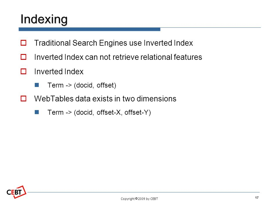 Copyright 2009 by CEBT Indexing Traditional Search Engines use Inverted Index Inverted Index can not retrieve relational features Inverted Index Term