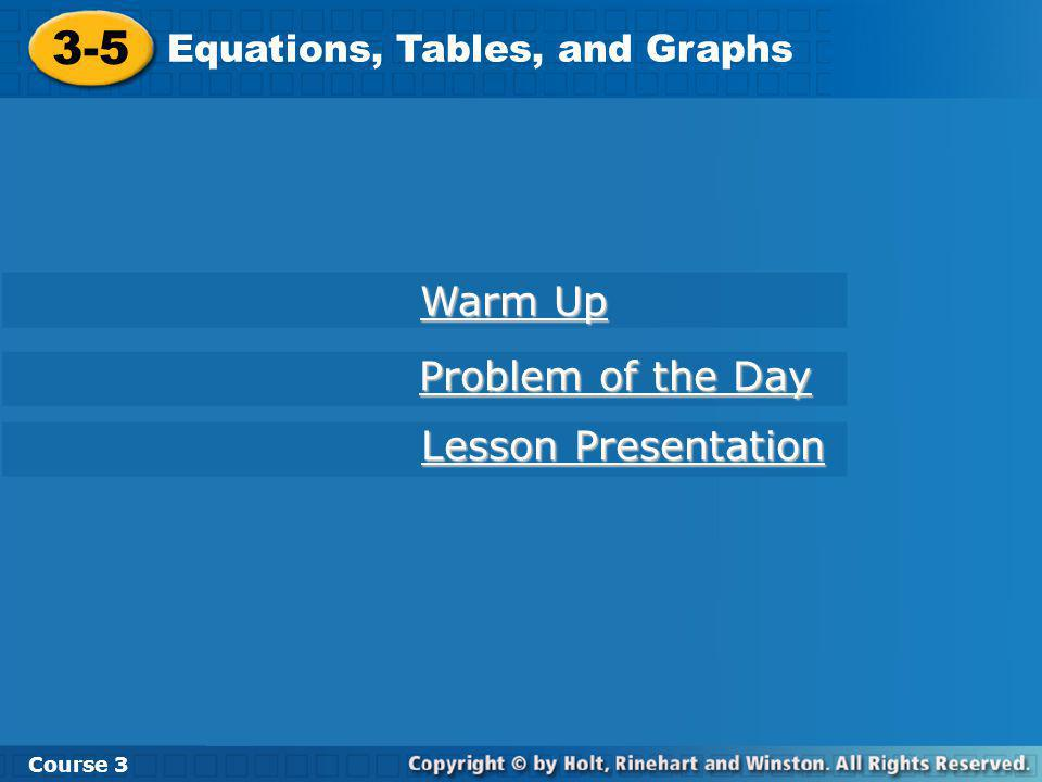 Course 3 3-5 Equations, Tables, and Graphs Use the table to make a graph and to write an equation.