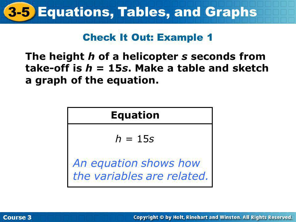 Course 3 3-5 Equations, Tables, and Graphs A table identifies values that make the function true.