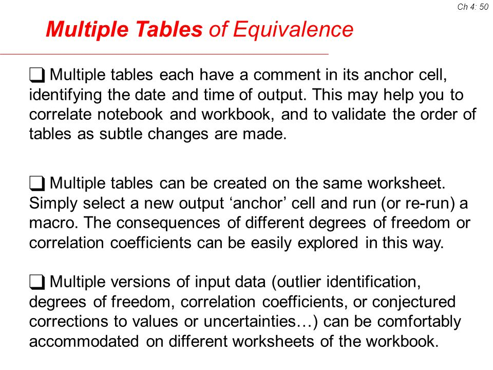 Multiple Tables of Equivalence Multiple tables each have a comment in its anchor cell, identifying the date and time of output.