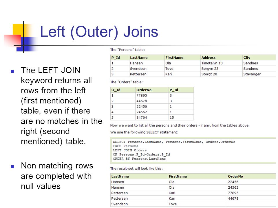 Left (Outer) Joins The LEFT JOIN keyword returns all rows from the left (first mentioned) table, even if there are no matches in the right (second men