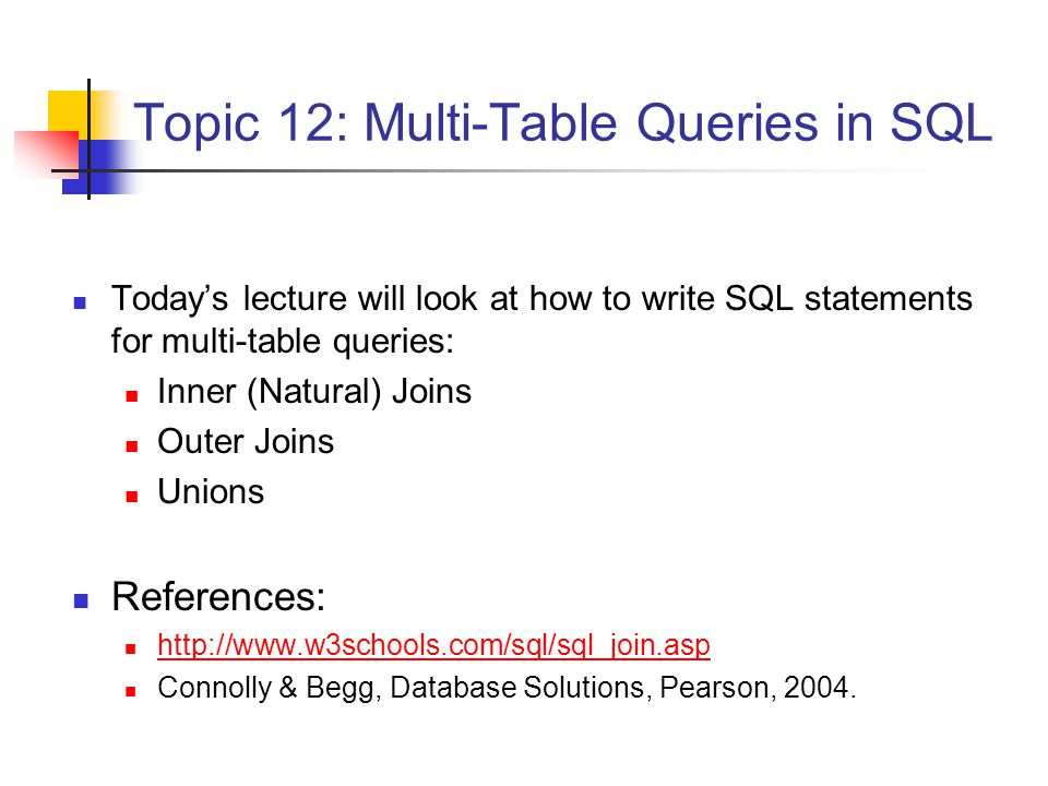 Combining Tables Very often, in order to answer a query, it is necessary to combine data from different tables – that is, it is necessary to perform a JOIN This can be done using the SQL SELECT statement by: listing the tables to be joined after the FROM keyword, and specifying how they are to be joined using the WHERE clause