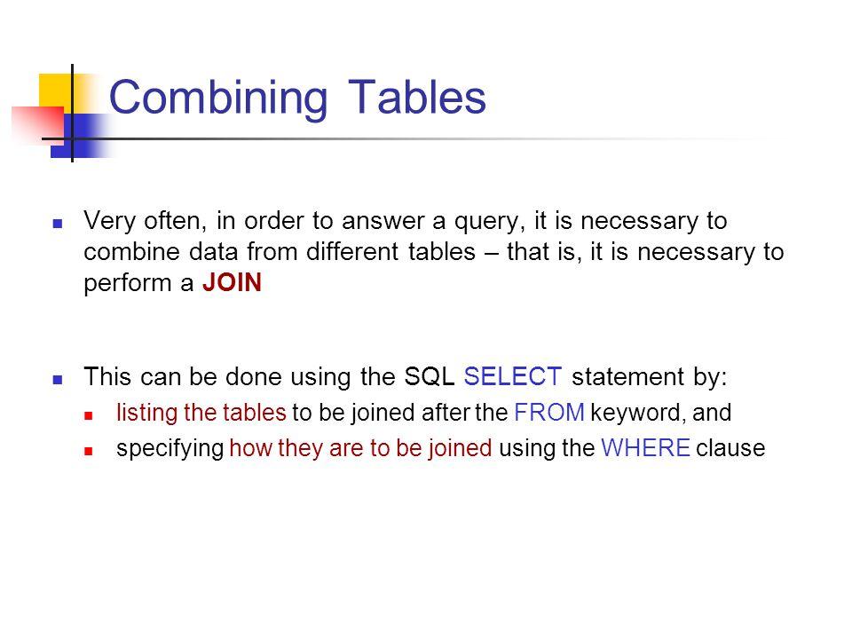 Joining Tables in SQL Consider the database design: student(studentNo, Name, DOB, Address, Gender, Degree) enrolIn(studentNo, courseCode, Mark) course(courseCode, courseName, Lecturer) lecturer(Name, Department, Telephone, Title)