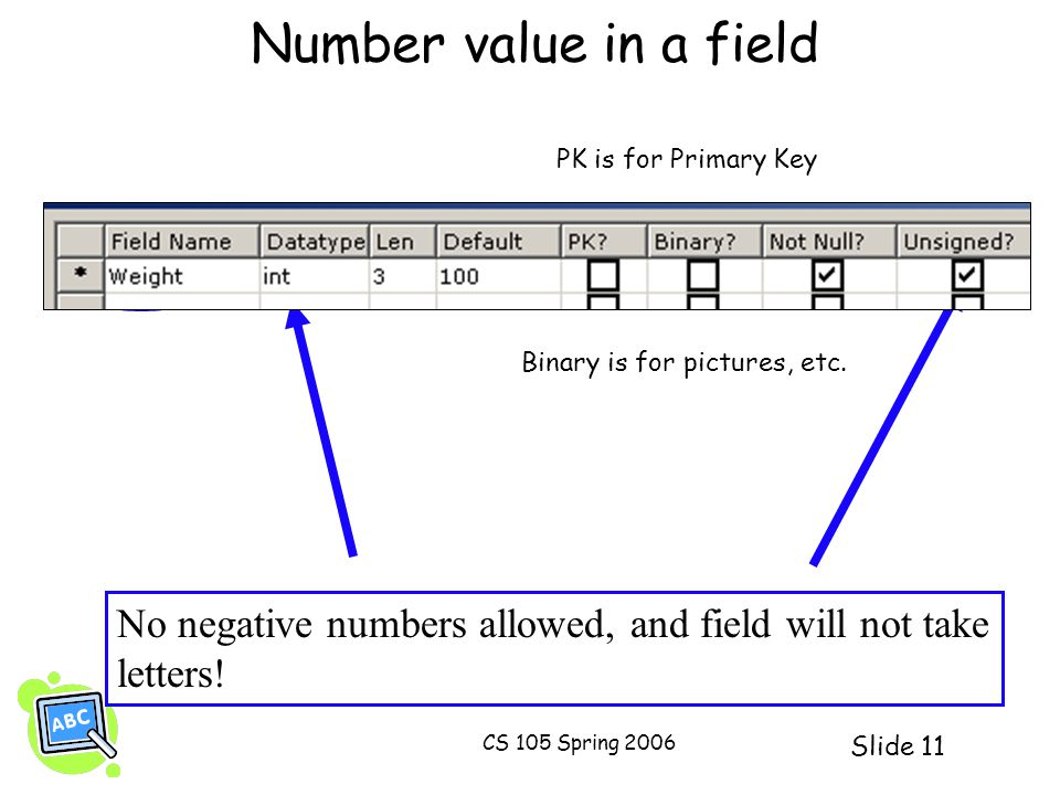 Slide 11 CS 105 Spring 2006 Number value in a field No negative numbers allowed, and field will not take letters! PK is for Primary Key Binary is for