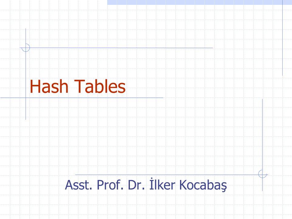 Asst. Prof. Dr. İlker Kocabaş Hash Tables