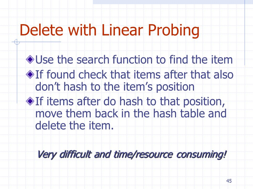45 Delete with Linear Probing Use the search function to find the item If found check that items after that also dont hash to the items position If it
