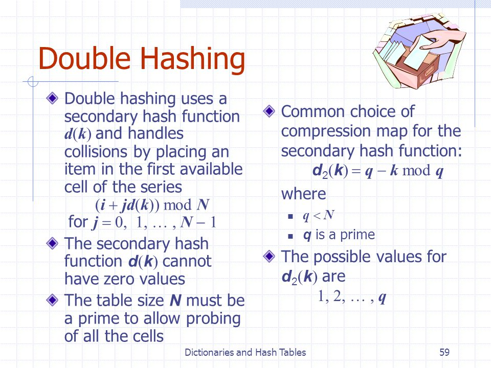 Dictionaries and Hash Tables59 Double Hashing Double hashing uses a secondary hash function d(k) and handles collisions by placing an item in the first available cell of the series (i jd(k)) mod N for j 0, 1, …, N 1 The secondary hash function d ( k ) cannot have zero values The table size N must be a prime to allow probing of all the cells Common choice of compression map for the secondary hash function: d 2 ( k ) q k mod q where q N q is a prime The possible values for d 2 ( k ) are 1, 2, …, q