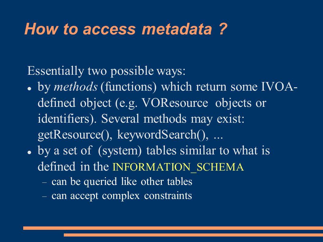 How to access metadata .