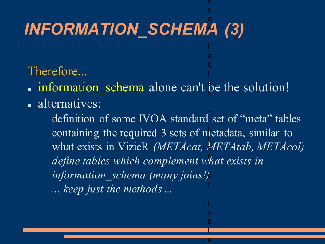 INFORMATION_SCHEMA (3) Therefore... information_schema alone can't be the solution! alternatives: definition of some IVOA standard set of meta tables