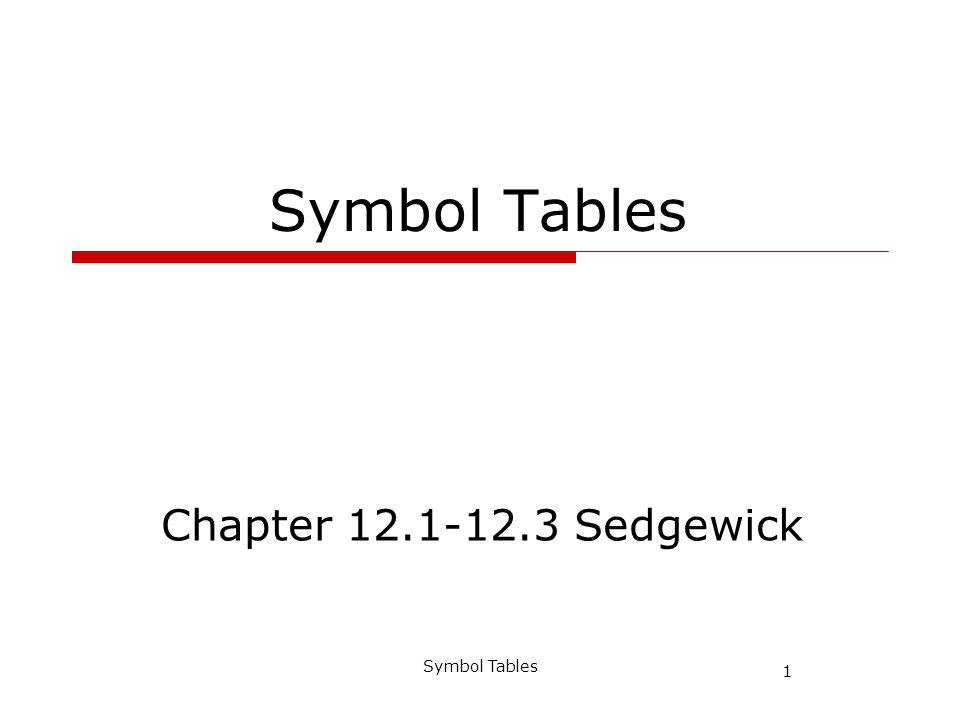 1 Symbol Tables Chapter 12.1-12.3 Sedgewick