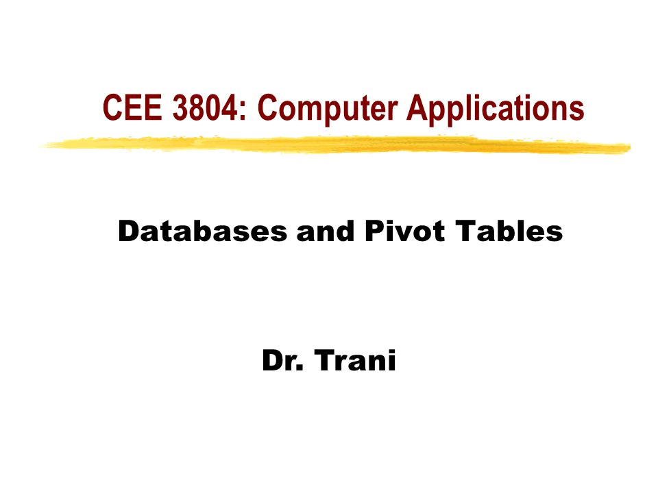 CEE 3804: Computer Applications Databases and Pivot Tables Dr. Trani