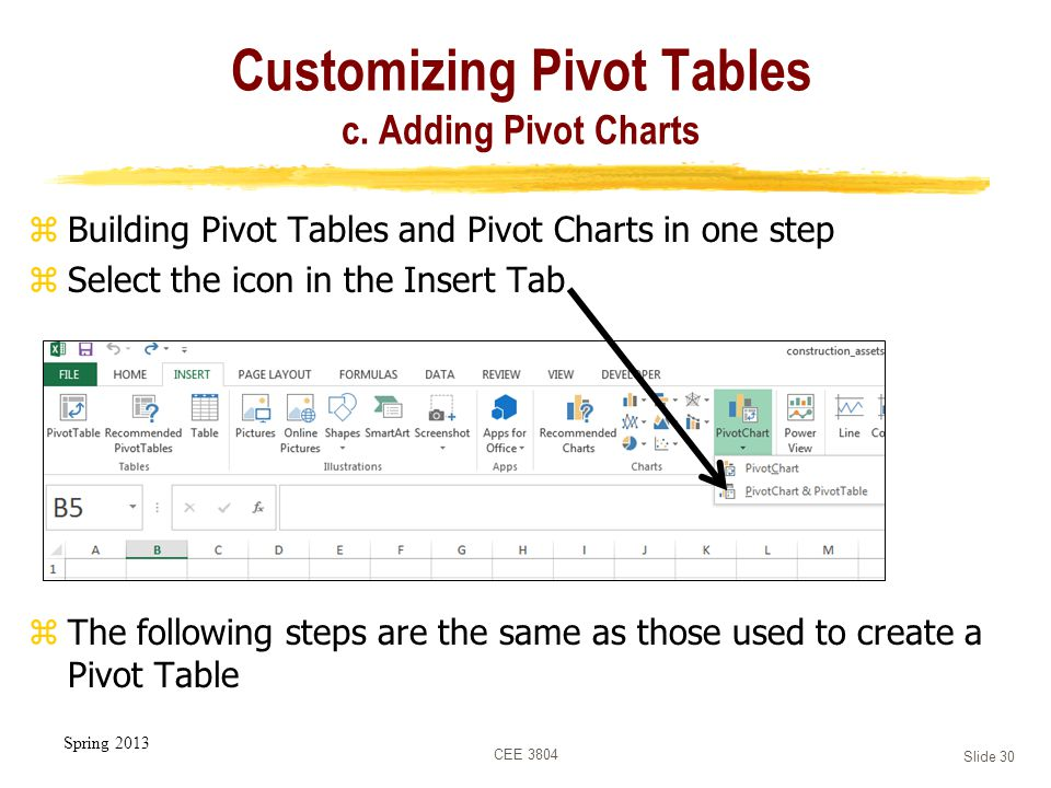 Spring 2013 CEE 3804 Slide 30 Customizing Pivot Tables c.