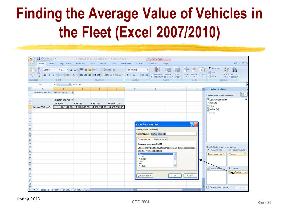 Spring 2013 CEE 3804 Slide 39 Finding the Average Value of Vehicles in the Fleet (Excel 2007/2010)