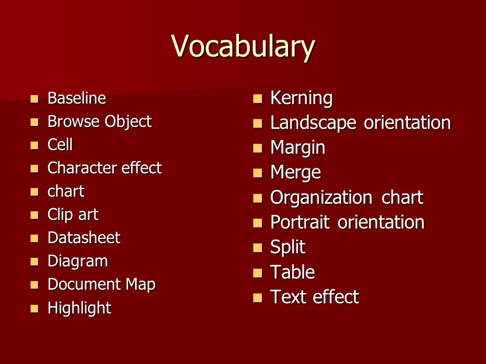 Vocabulary Baseline Baseline Browse Object Browse Object Cell Cell Character effect Character effect chart chart Clip art Clip art Datasheet Datasheet Diagram Diagram Document Map Document Map Highlight Highlight Kerning Kerning Landscape orientation Landscape orientation Margin Margin Merge Merge Organization chart Organization chart Portrait orientation Portrait orientation Split Split Table Table Text effect Text effect
