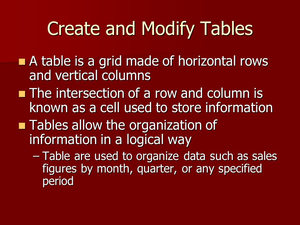 Create and Modify Tables A table is a grid made of horizontal rows and vertical columns A table is a grid made of horizontal rows and vertical columns The intersection of a row and column is known as a cell used to store information The intersection of a row and column is known as a cell used to store information Tables allow the organization of information in a logical way Tables allow the organization of information in a logical way –Table are used to organize data such as sales figures by month, quarter, or any specified period