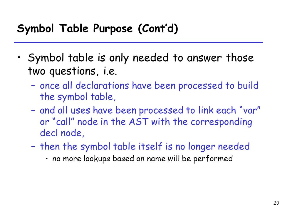 20 Symbol Table Purpose (Contd) Symbol table is only needed to answer those two questions, i.e. –once all declarations have been processed to build th