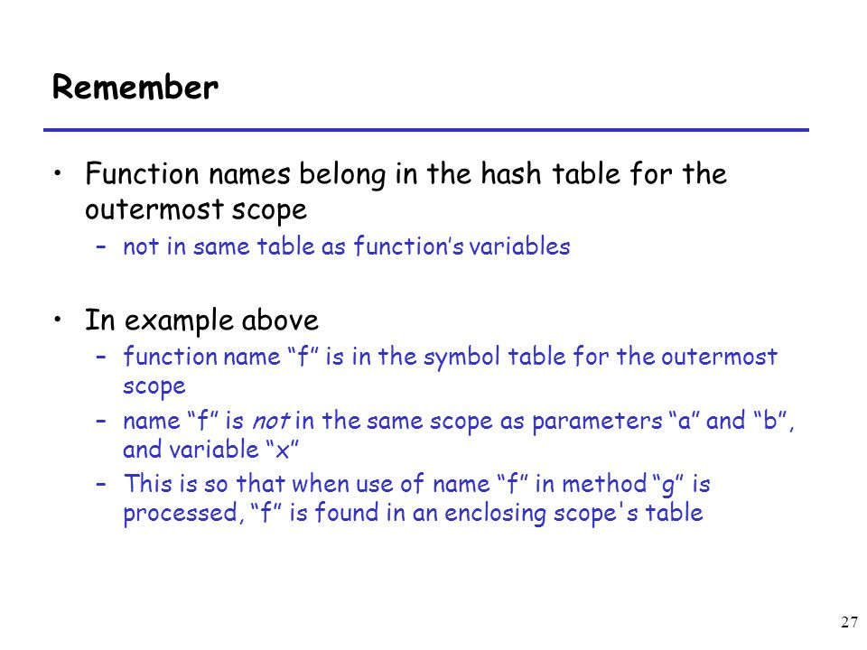 27 Remember Function names belong in the hash table for the outermost scope –not in same table as functions variables In example above –function name