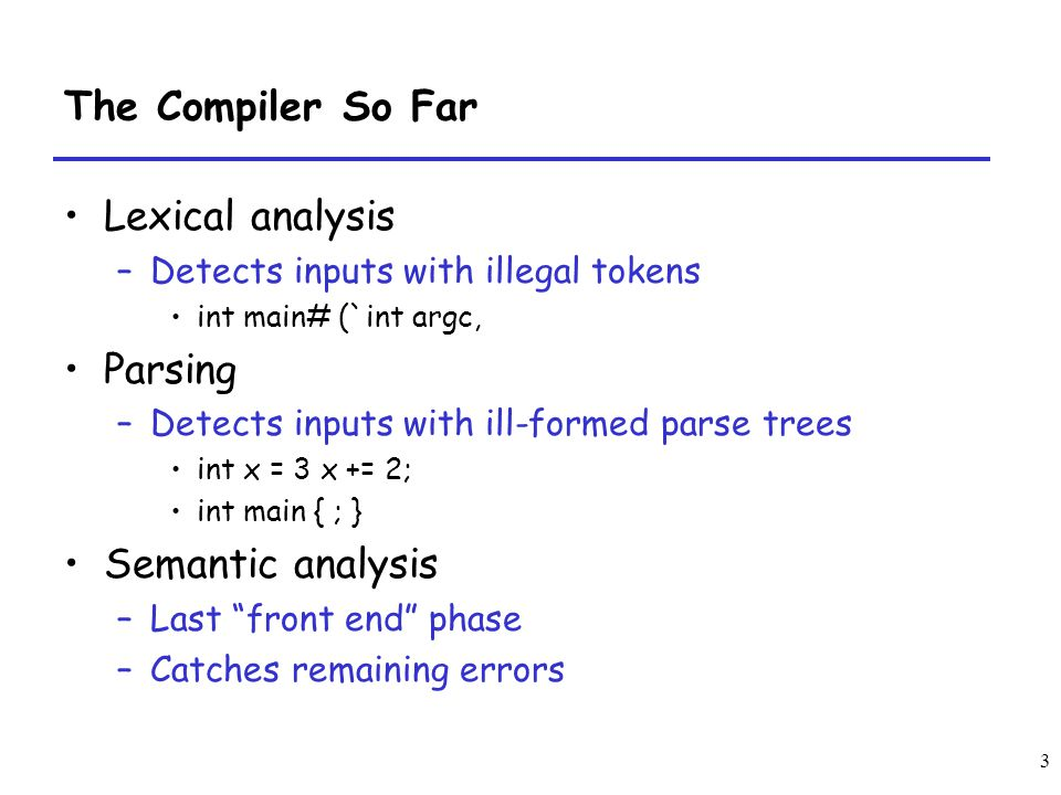 3 The Compiler So Far Lexical analysis –Detects inputs with illegal tokens int main# (`int argc, Parsing –Detects inputs with ill-formed parse trees i