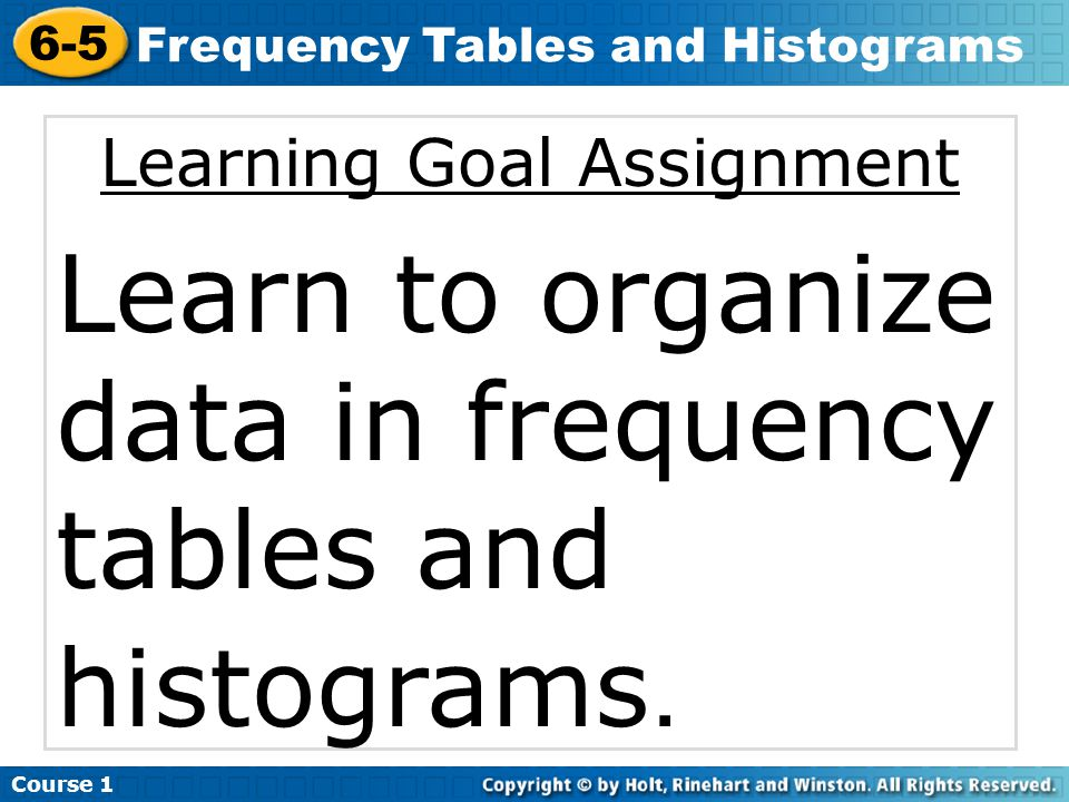 Learning Goal Assignment Learn to organize data in frequency tables and histograms.