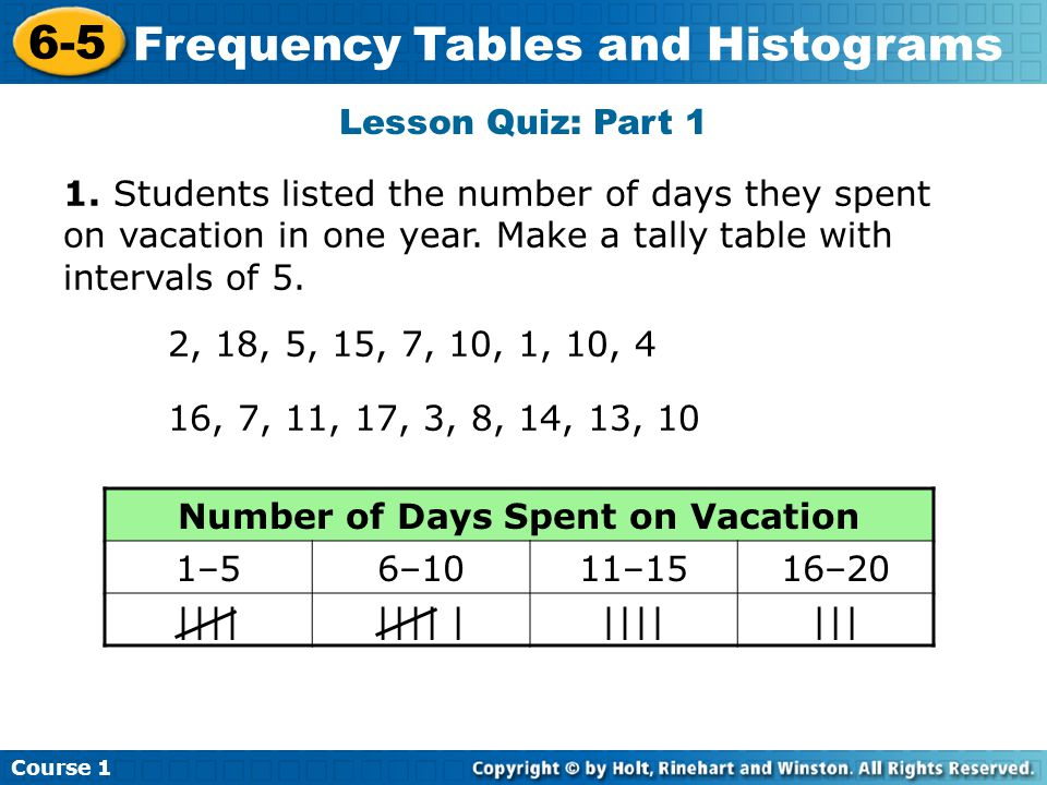 Lesson Quiz: Part 1 1.Students listed the number of days they spent on vacation in one year.