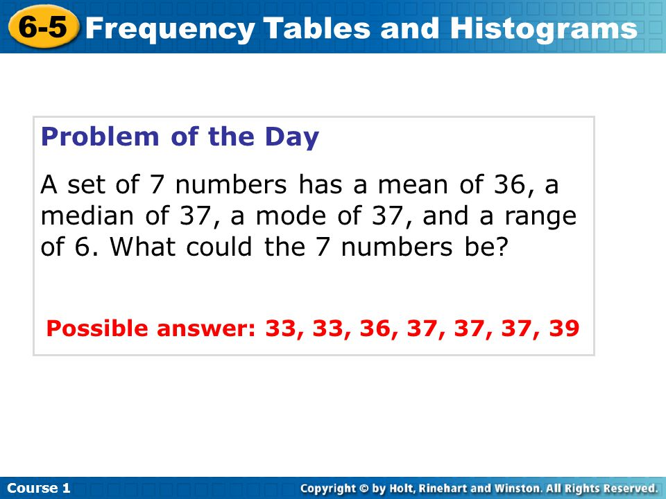 Problem of the Day A set of 7 numbers has a mean of 36, a median of 37, a mode of 37, and a range of 6.