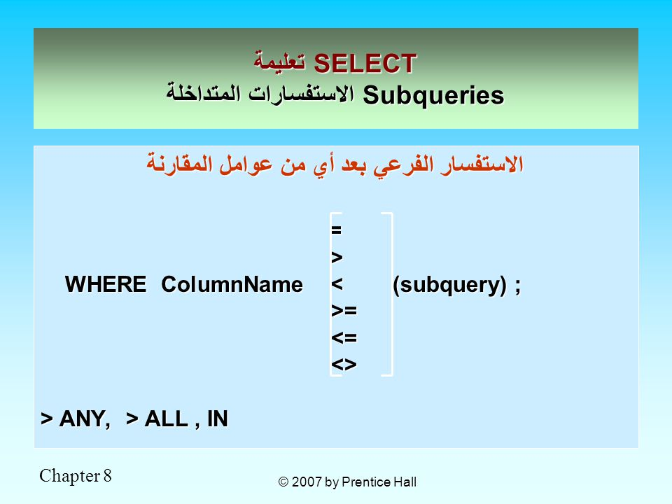 Chapter 8 © 2007 by Prentice Hall الاستفسار الفرعي بعد أي من عوامل المقارنة = > WHERE ColumnName < (subquery) ; WHERE ColumnName < (subquery) ; >= >= <= <= <> <> > ANY, > ALL, IN تعليمة SELECT الاستفسارات المتداخلة Subqueries