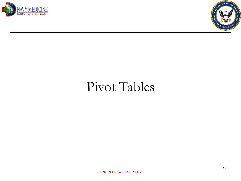 Pivot Tables FOR OFFICIAL USE ONLY 17
