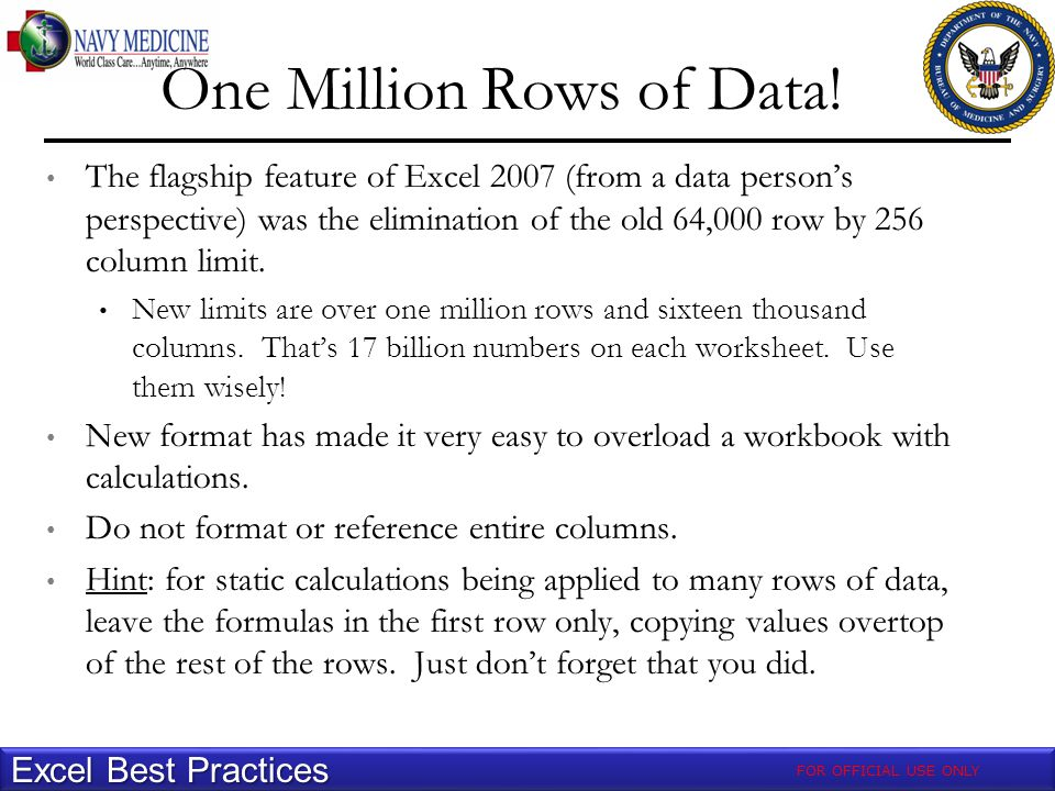 One Million Rows of Data.