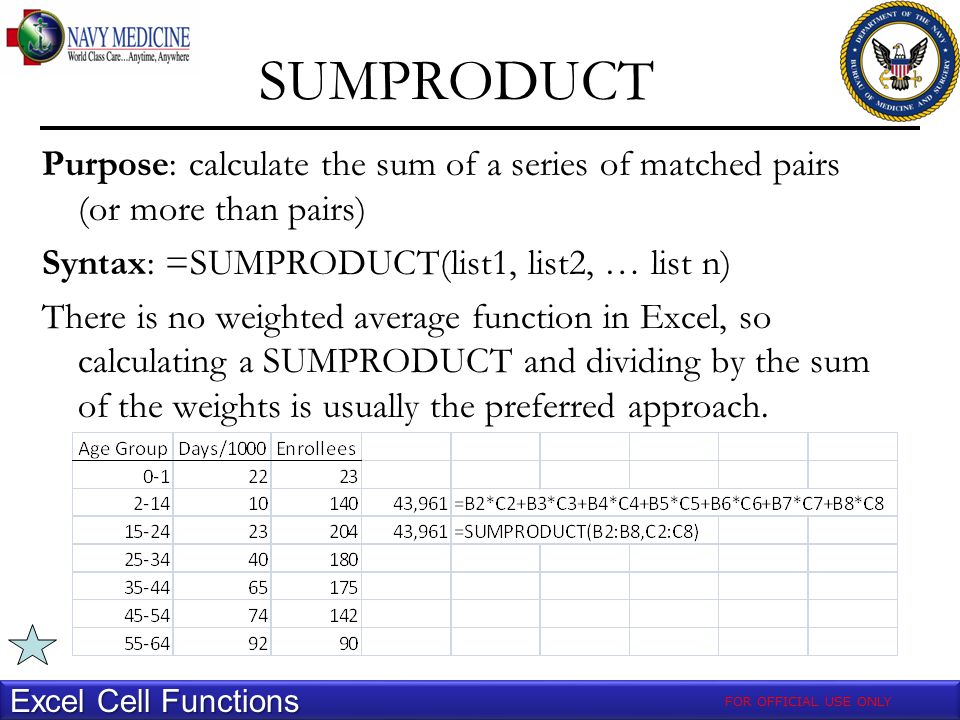 SUMPRODUCT Excel Cell Functions Purpose: calculate the sum of a series of matched pairs (or more than pairs) Syntax: =SUMPRODUCT(list1, list2, … list n) There is no weighted average function in Excel, so calculating a SUMPRODUCT and dividing by the sum of the weights is usually the preferred approach.