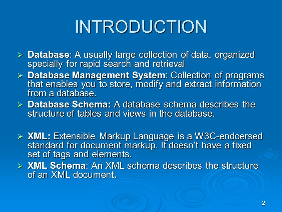 2 INTRODUCTION Database: A usually large collection of data, organized specially for rapid search and retrieval Database: A usually large collection of data, organized specially for rapid search and retrieval Database Management System: Collection of programs that enables you to store, modify and extract information from a database.
