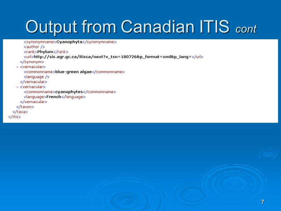 18 Method #1: XML output (portion)..<itcomment><commentator>NODC</commentator><detail>Part</detail> 13-JUN-96 02.51.08.000000 PM 13-JUN-96 02.51.08.000000 PM <commentupdatedate>1996-06-17</commentupdatedate><commentlinkupdatedate>1996-07-29</commentlinkupdatedate></itcomment>..