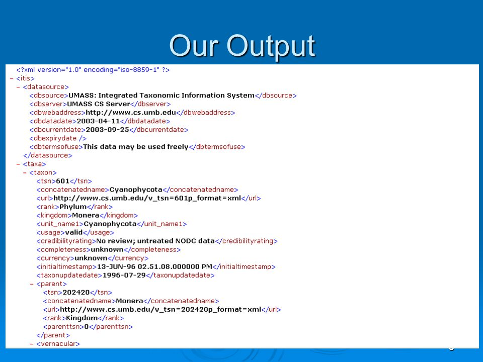 9 Our Output cont
