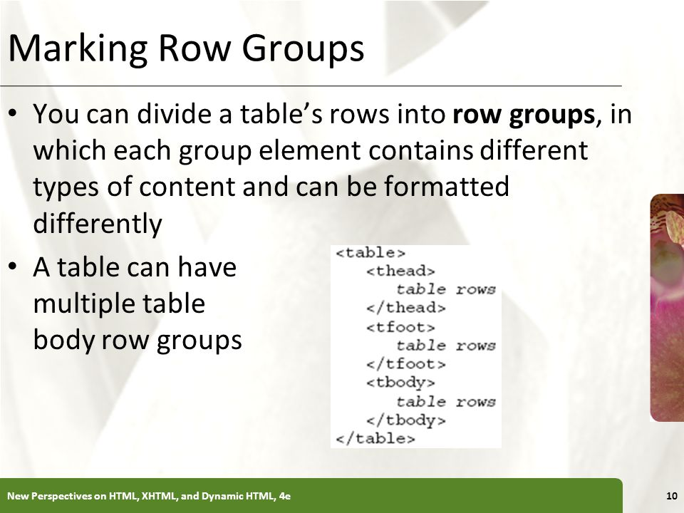 XP Marking Row Groups You can divide a tables rows into row groups, in which each group element contains different types of content and can be formatt